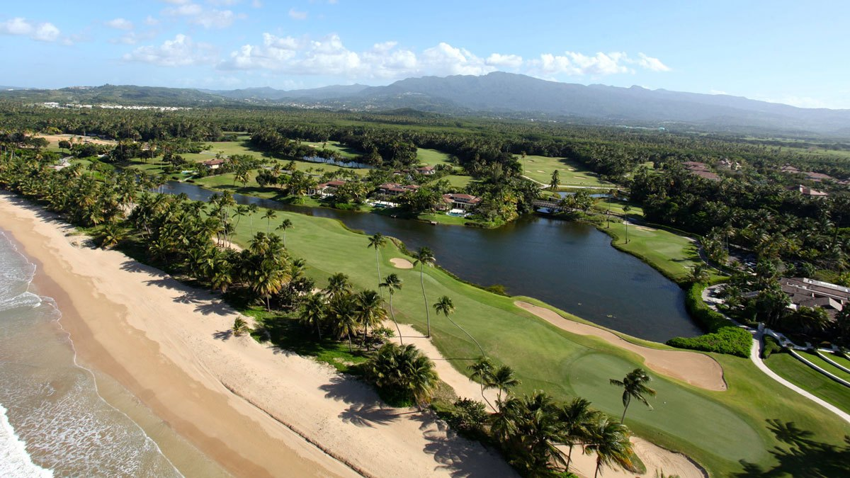 Aerial view of the golf course at Bahia Beach Resort in Rio Grande